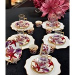 A set of tea cups with saucers and coffee cups 18 pieces