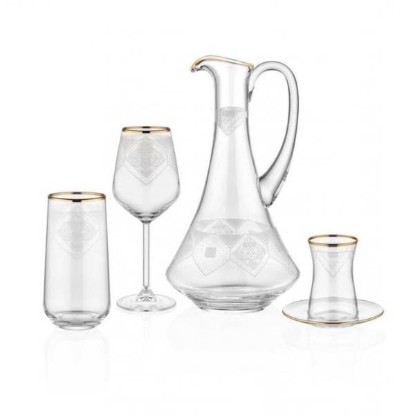 Set of 49-piece crystal glass