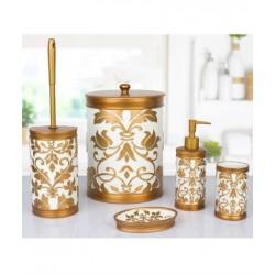 5-piece golden / white banyo set