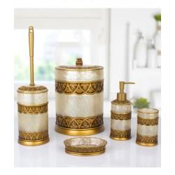 5-piece golden / beige banyo set