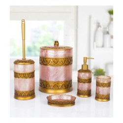 5-piece golden / pink banyo set