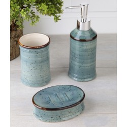 3-piece golden / turquoise banyo set