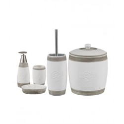 5-piece white / beige banyo set