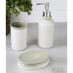 3-piece white / green banyo set