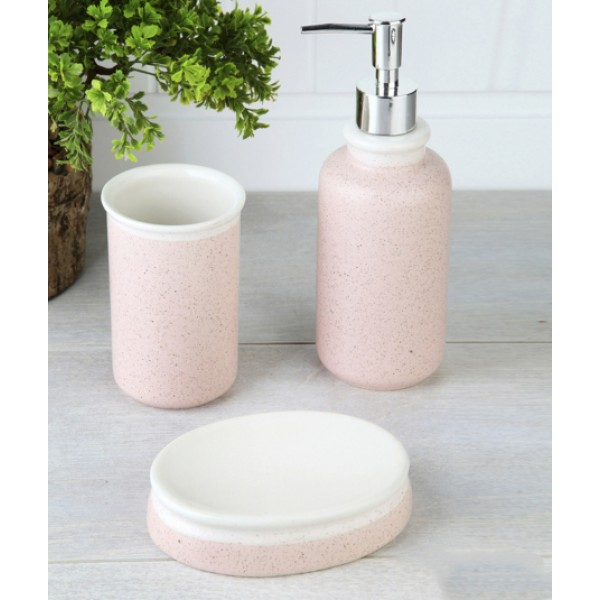 5-piece white / pink banyo set
