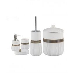 5-piece white / golden banyo set