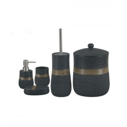 5-piece black / golden banyo set