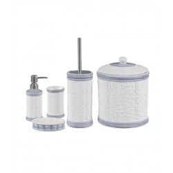 5-piece white / gray banyo set