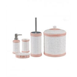 5-piece white / pink banyo set