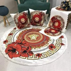 A set consisting of 120 cm carpet, 2 table cover and 2 pillow
