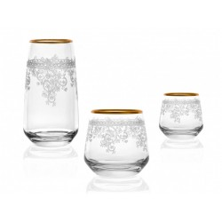 18 pieces Crystal Cup Set Golden.