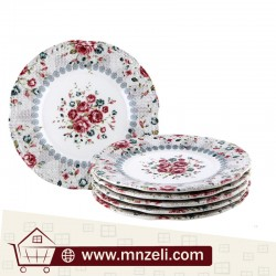 A set of 6-piece food dishes measuring 21 cm