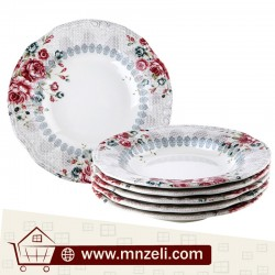 A set of 6-piece food dishes measuring 24 cm