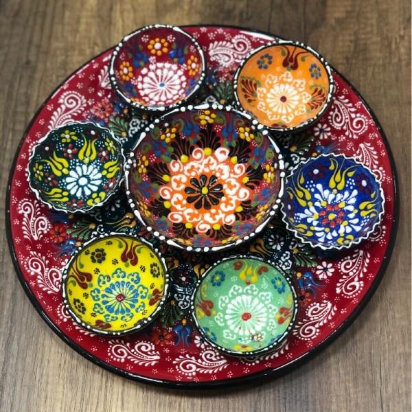 Turkish breakfast ceramics set red