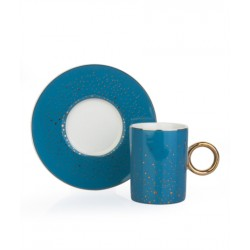 A cup of porcelain coffee and a 12-piece turquoise