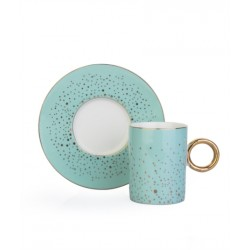 A cup of porcelain coffee and a 12-piece light turquoise