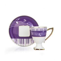 A cup of porcelain coffee and a 12-piece violet