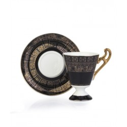 A cup of porcelain coffee And Saucer black/Gold