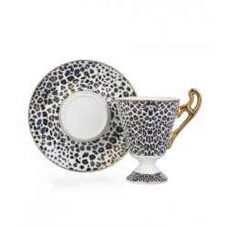 A cup of porcelain coffee And Saucer black
