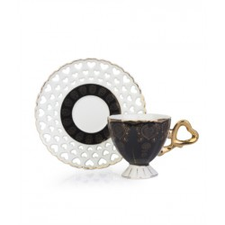 12-Piece Coffee Cup And Saucer Set black / White