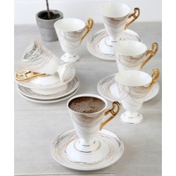 12-Piece Coffee Cup And Saucer SetBeige / White