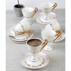 12-Piece Coffee Cup And Saucer Set brouwn / White