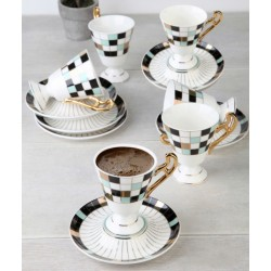12-Piece Coffee Cup And Saucer Set Square engraving
