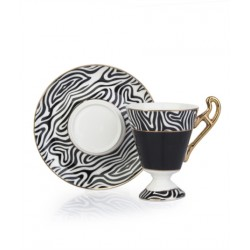 4-Piece Coffee Cup And Saucer Set black