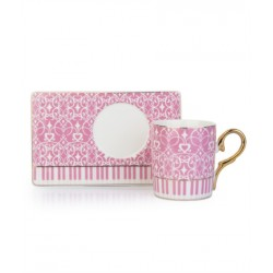4-Piece Coffee Cup of porcelain And Saucer Set pink