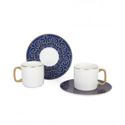 12-Piece Coffee Cup And Saucer Set blue / white