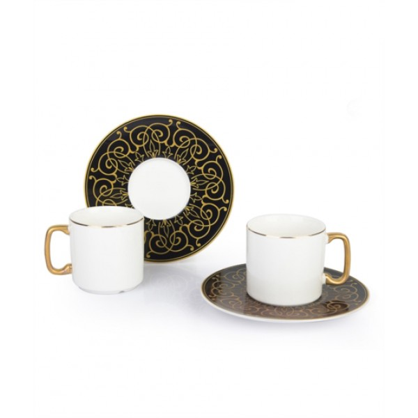 12-Piece Coffee Cup And Saucer Setblack / white