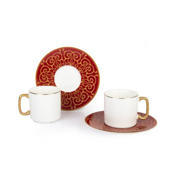 12-Piece Coffee Cup And Saucer Set red / white