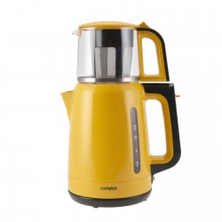 The tea machine is a yellow color