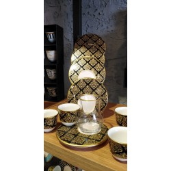 A set of tea sets with dish with Arabic coffee cups Consists of 18 pieces