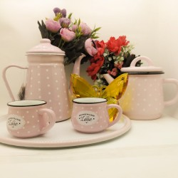 Set consisting of 2 cups - 2 teapots - tray