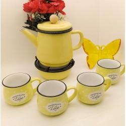 Set of 4 cups - 1 teapot - heater