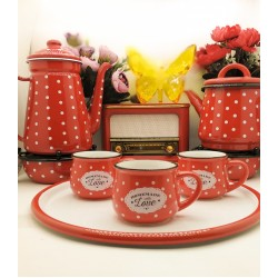 Set consisting of 3 cups - 2 teapots - 2 heaters - radio - tray