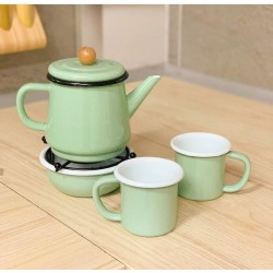 A tea set consisting of a teapot - a heater - a cup of 2