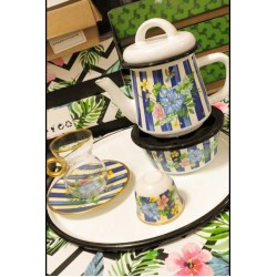 Turkish serving set consisting of teapot - heater - tray - 6 cups of tea - 6 plates - 6 Arabic coffee cups