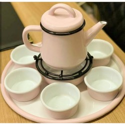 Set of serving tea consisting of a jug - a heater - a cup of 6 - tray