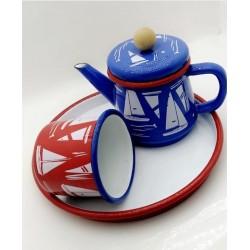 Tea set consisting of jug - cup - tray