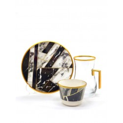 A set of tea sets with dish with arabic coffee cupsConsists of 18 pieces