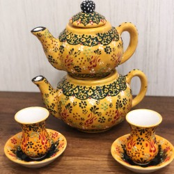 Turkish ceramic teapot + ceramic tea cups set with plates 6 pieces yellow