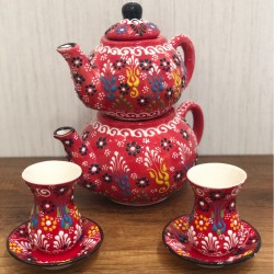 Turkish ceramic teapot + ceramic tea cups set with plates 6 pieces red
