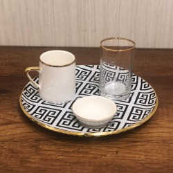 Coffee set consisting of 1 cup of coffee + 1 cup + small sweet dish + large plate