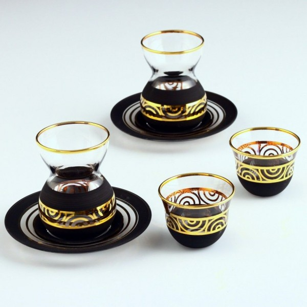 ANTIQUE GOLD - BLACK set of tea sets with dish with coffee cups 18 pes