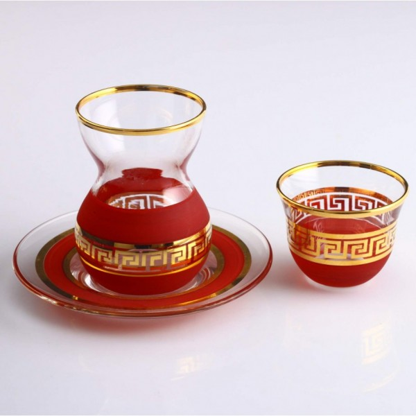 ANTIQUE GOLD - RED set of tea sets with dish with coffee cups 18 pes