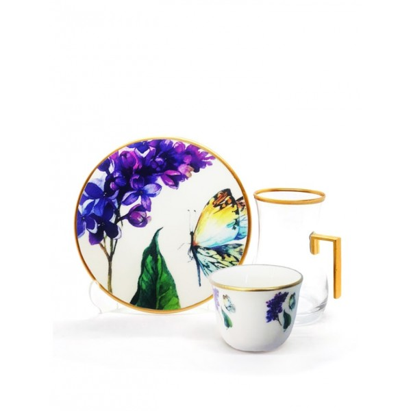 A set of tea sets with dish with coffee cups 18 pes BUTTERFLY