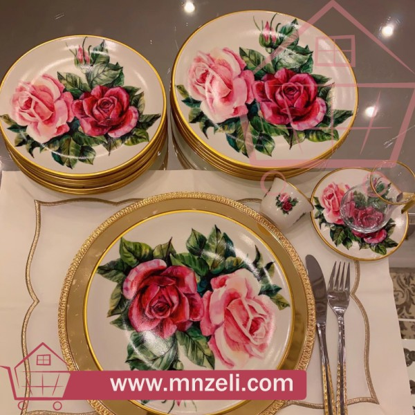 ROSE WHITE 30-piece Tea and Serving Set